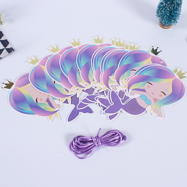 3M Hot Stamp Party Mermaid Flag Banner Party Home 12pcs Mermaid Festival Birthday Home Banner Party Decorations Mermaid Party.q