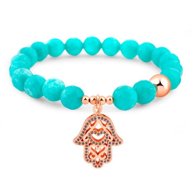 Wholesale Trendy Brass Gold Plated Crystal Plam Charm Bracelet Turquoise Beaded Bracelets For Men Women Pulseras Jewelry Gift