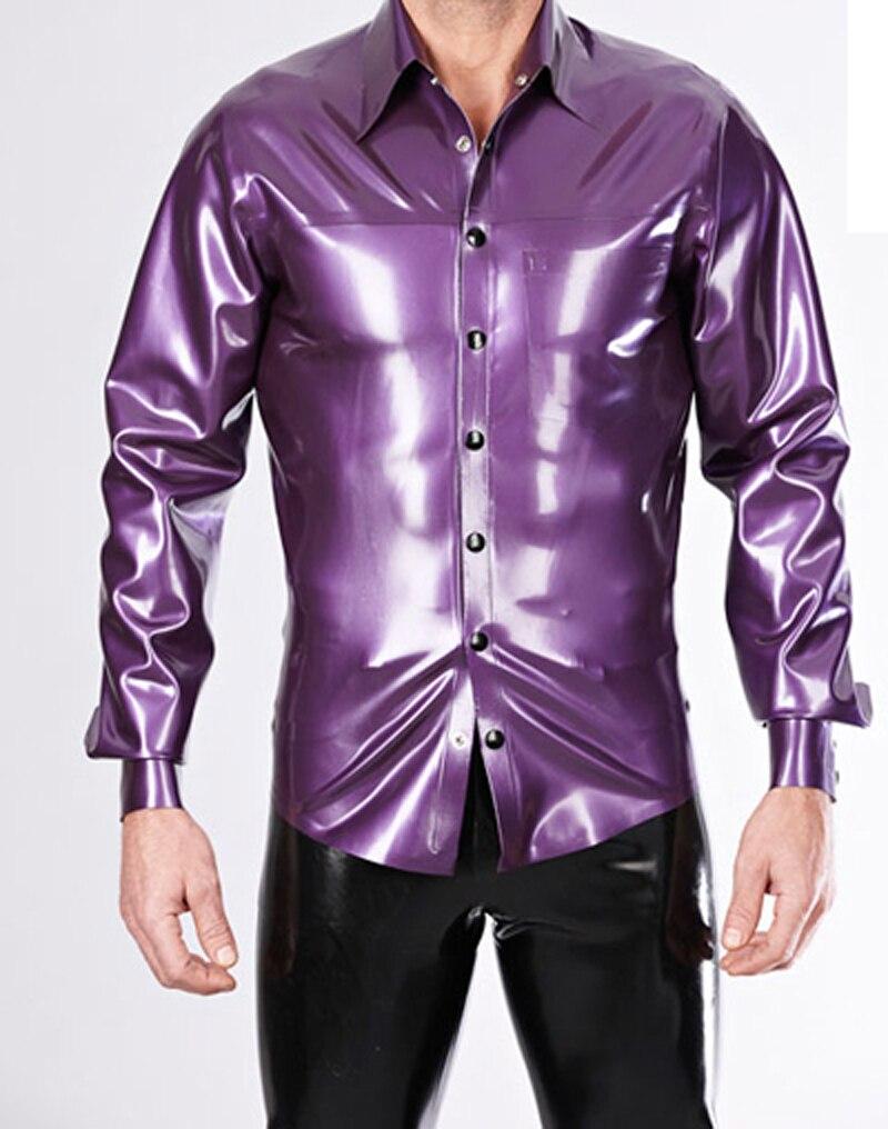 men's latex purple shirt rubber coat for adult plus size hot sale Customize Service