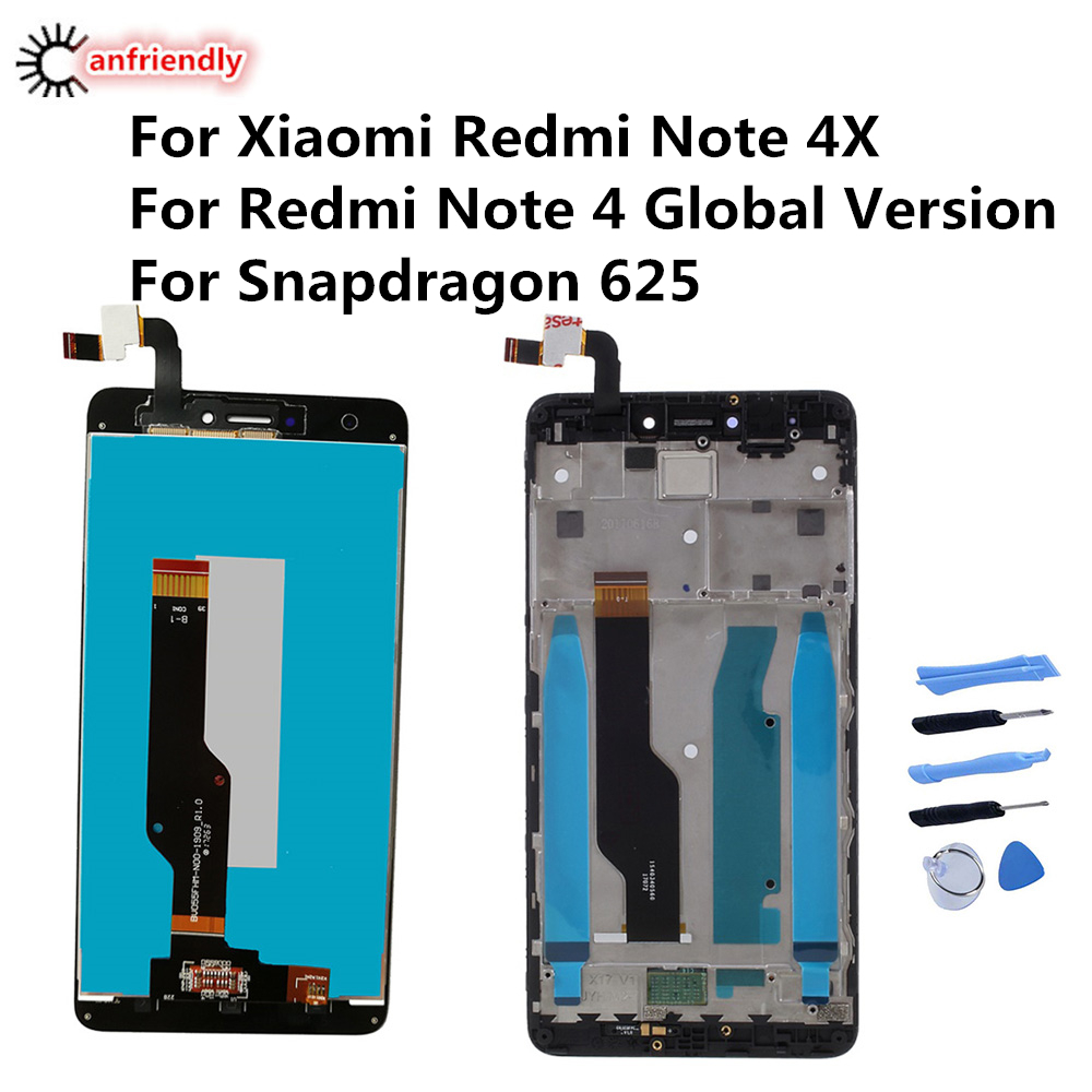 AAA Quality <font><b>LCD</b></font>+Frame For <font><b>Xiaomi</b></font> <font><b>Redmi</b></font> <font><b>Note</b></font> <font><b>4X</b></font> <font><b>LCD</b></font> <font><b>Display</b></font> Screen For <font><b>Redmi</b></font> <font><b>Note</b></font> 4 Global Version <font><b>LCD</b></font> Only For Snapdragon 625 image