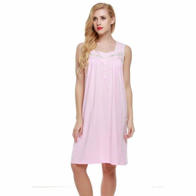 Nightie Women Sleeveless Nightgown Solid Nightwear Square Neck Knee Length Night Dress Casual Ladies Sleepwear Night Gown L50