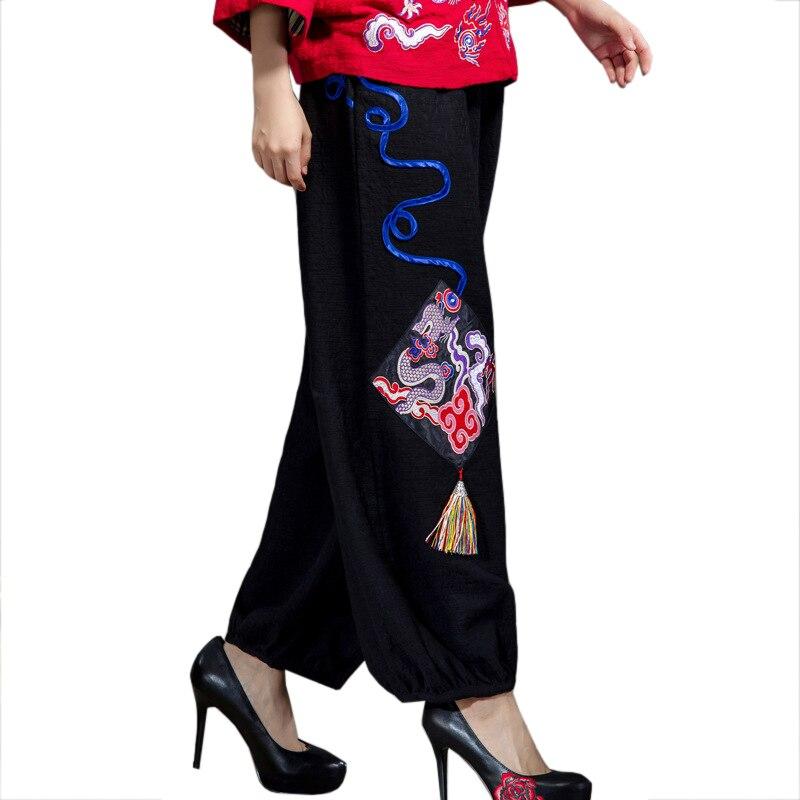 2019 New Black Patchwork Chinese Women Trousers Autumn Embroidery Elastic Waist   Pants   Vintage Tassel   Wide     Leg     Pant   L-XL