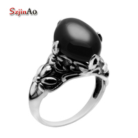 Szjinao Christmas Gift Black Agate Ring High Quality Real 925 Sterling Silver Rings for Women finger spinner