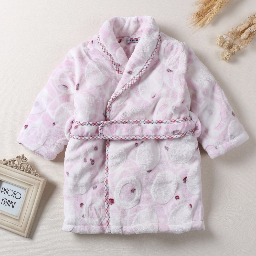 Children's winter three layer of thick flannel nightgown Home Furnishing quilted Coral Fleece Pajamas Bathrobe free shipping