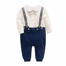Vlinder 2018 srping Autumn new male baby soft cotton straps gentleman dress piece body clothing romper clothes