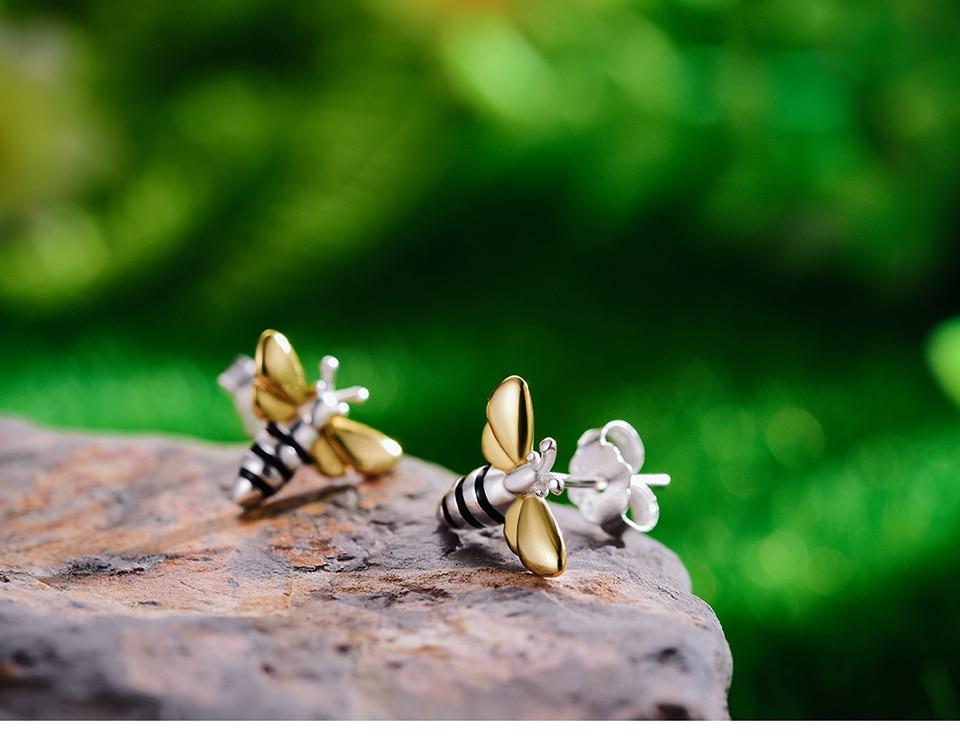 HTB12kzgX4 rK1RkHFqDq6yJAFXaJ Lotus Fun Real 925 Sterling Silver Earrings Designer Fine Jewelry Lovely 18K Gold Honey Bee Stud Earrings for Women Gift Brincos
