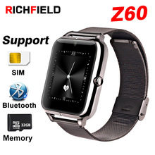 Купить с кэшбэком RICHFIELD Z60 bluetooth mens Smart Watch fitness tracker Stainless Steel watch phone SIM card Smartwatch for android watches