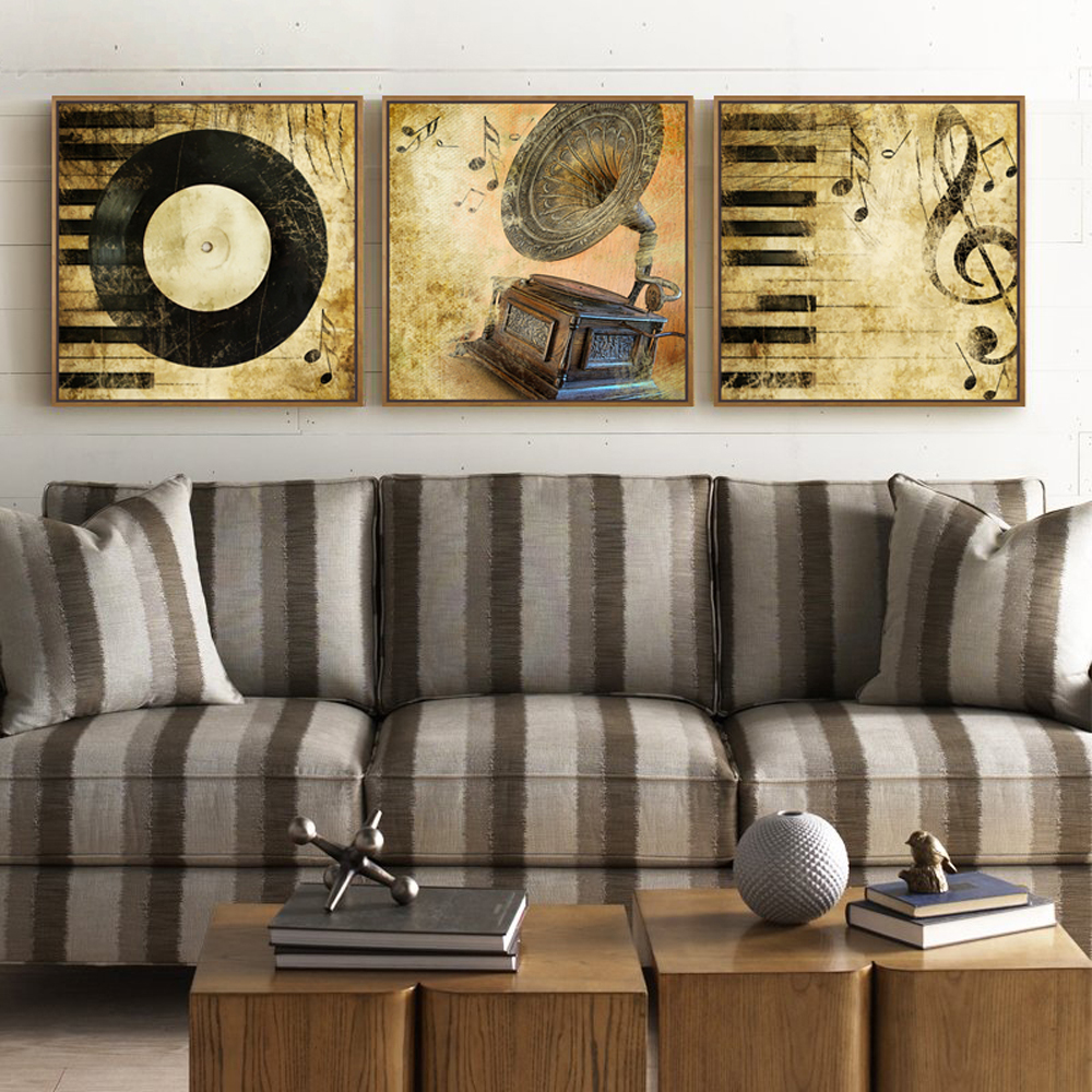 The new arrival wall art painting 3 piece classic music picture of disk the piano black