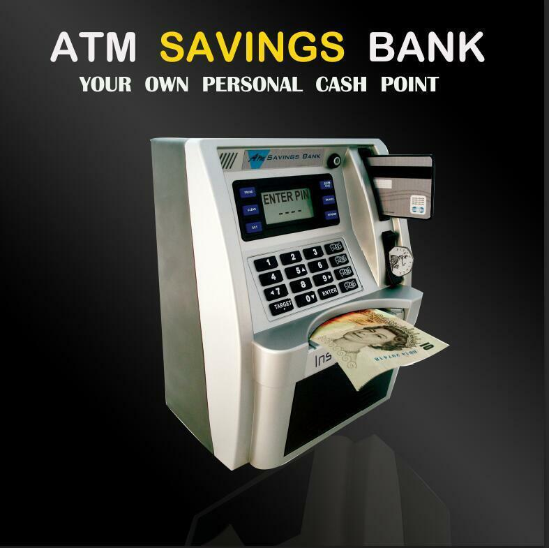 Kids' Gift Personal ATM Cash Coin Money Savings Bank Silver/Black Machine For USD