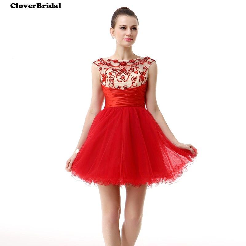 CloverBridal 2017 Mini tul + cetim + saquinho puffy padroes de contas vermelhas vestidos de debutante 15 anos curtos