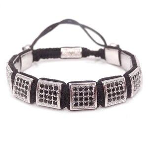 Image 4 - Pulseras cuadradas de moda europea y americana para mujer, pulsera de caja Micro Pave CZ hombres pulsera trenzada reloj joyería salvaje