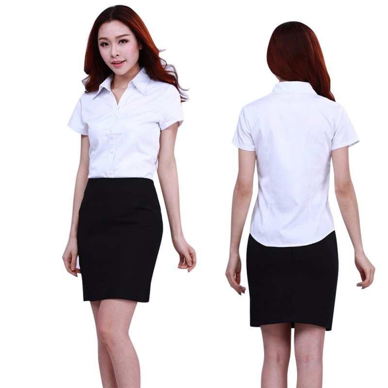2019 Fashion Women Simple Office Lady Formal Party Business   Blouse   Career Button Collar Student Graduation White   Shirt   Tops