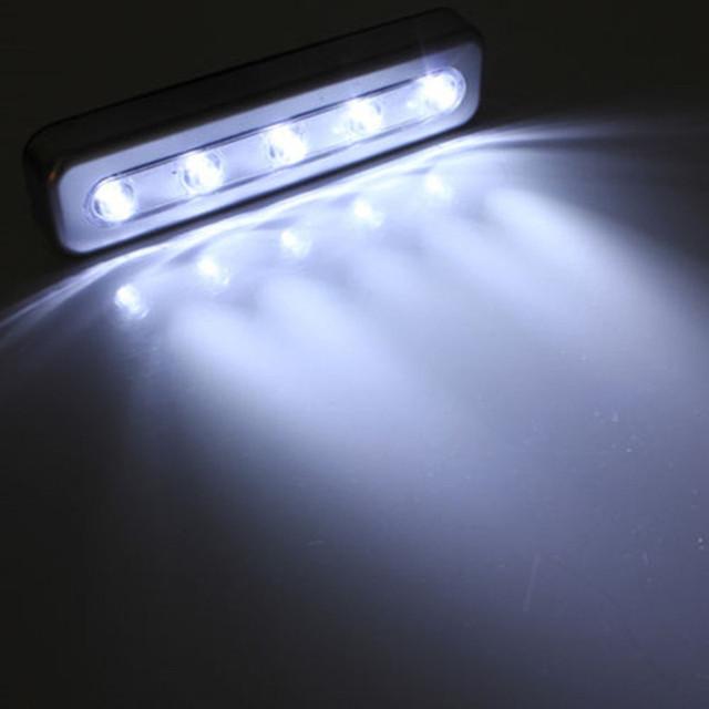 1X Stick On 5 LED Night Light Push Touch Tap Night Light Kitchen Closet Under Cabinet Wardrobe Night Lamp Battery Power Bright