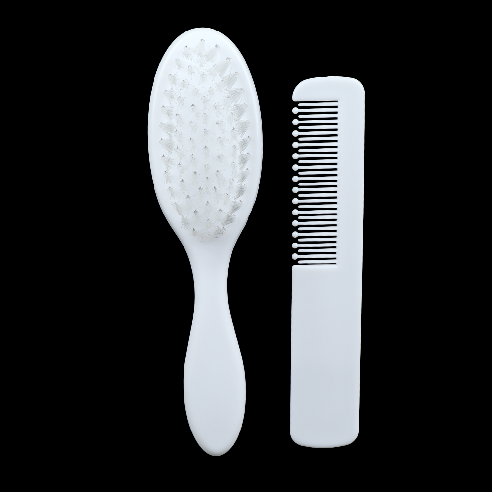 2 Pcs/Set Safety Soft White Hair Brush Comb Kit Shower Grooming Hair Brushes Combs