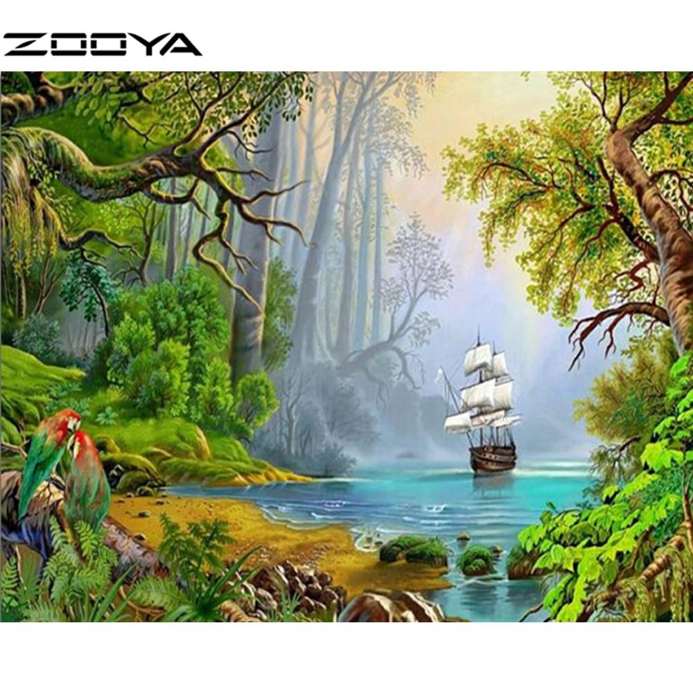 ZOOYA 5D DIY Алмаз кескіндемеі Ландшафтық - Өнер, қолөнер және тігін - фото 1