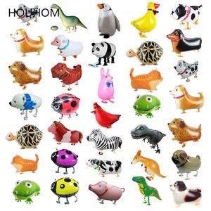 Walking Animal Helium Balloon Cute Cat/Dog/Dinosaur Foil Balloon Birthday Party Decorations Kids Baby shower Gift Toy Air Globos(China)