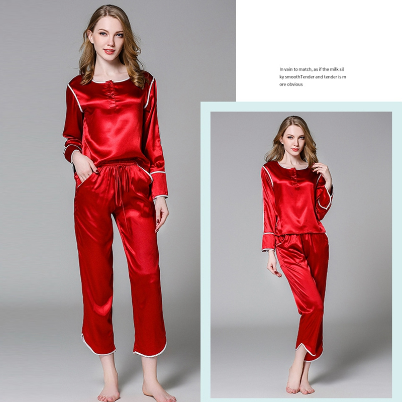 Autumn Silk Satin Couples Pajamas Sets Men Women Long Sleeve Sleepwear Home  wear Nightshirt Elastic Lace Waistband Sleepwear-in Pajama Sets from Women s  ... a24e8986c
