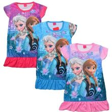 2016 Retailed Girls Anna and Elsa Sleepwear Pajamas Skull Age 3-6Y Outfits Kids Top Nightwear Nightgown Hot Sale