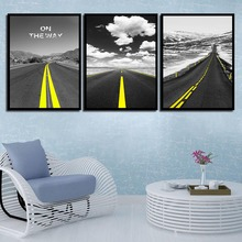 HD Printed Painting Picture Nordic Watercolor Style Poster Home Decor Black And White Road On Canvas Modern Wall Artwork