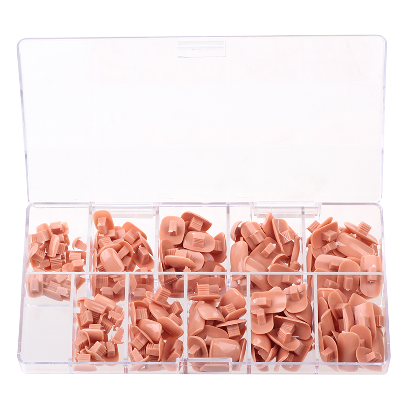 Kesinail 200pcs Replace False Nail Tips For Flexible Training Practice Hand 5 Sizes Nail Art Fake Nails Tips DIY Model Hand Tool