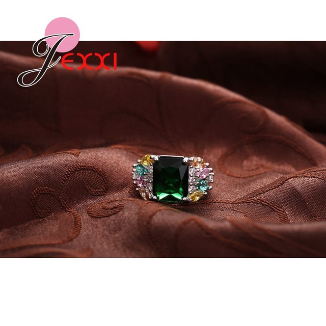 JEXXI New Arrival Square Cut Big Clear Green Crystal Women Wedding Engagement Rings Fashion 925 Silver High Quality Jewelry