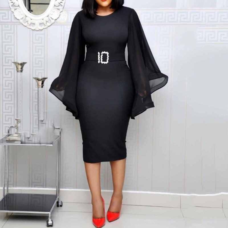 6c2fb08635b White Elegant Party Dress Women 2019 Black Office Fashion Chiffon Flare  Long Sleeve Sexy Bodycon Belt Ladies Autumn Midi Dresses