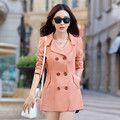 2016 Fashion Female Spring Slim Trench Coat Women's Double Breasted Solid Windbreaker Turn-down Collar Overcoat S-3XL CO-081