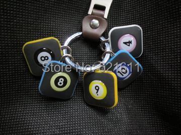 Freepost 15pcs/lot Square billiard balls keyring as billiard balls No1~No 15 keychain billiard snooker accessories