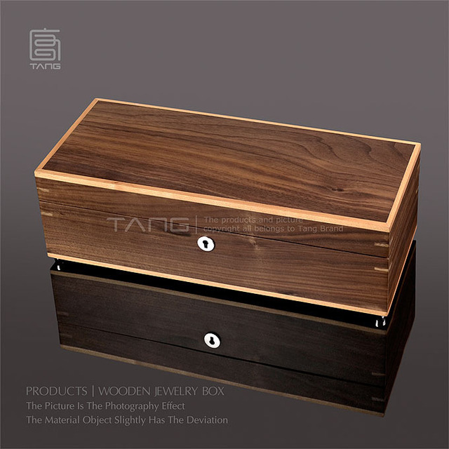 Top Rated 2015 New Fancy Men Jewelry Display Storage Box Case,TANG USA Black Walnut Wood Jewelry Collecting Gift Box