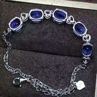 Pass Processed, Sapphire Bracelet, high purity.Symbol of love and honesty.The main stone is 5A sapphire.Gem size 7*9mm,925 s