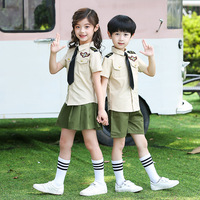 2019 New Child Clothing Kindergarten Uniform For Boys Girls School Uniform 2pcs Military Training Clothing With Tie &Hat SL1072