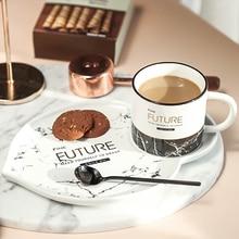 Роскошные мраморная чашка 3 предмета костяного фарфора Чай комплект из чашки и блюдца с ложкой Фарфор золотой оправе чайная чашка, кофейная чашка мода молока кружка