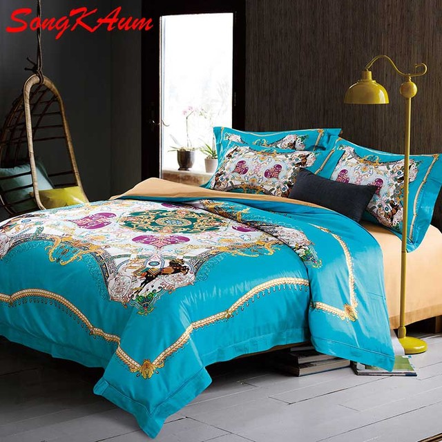 4 Pieces Top Quality 100% Pima Cotton Luxury Brand Bedding Sets King Size  Queen