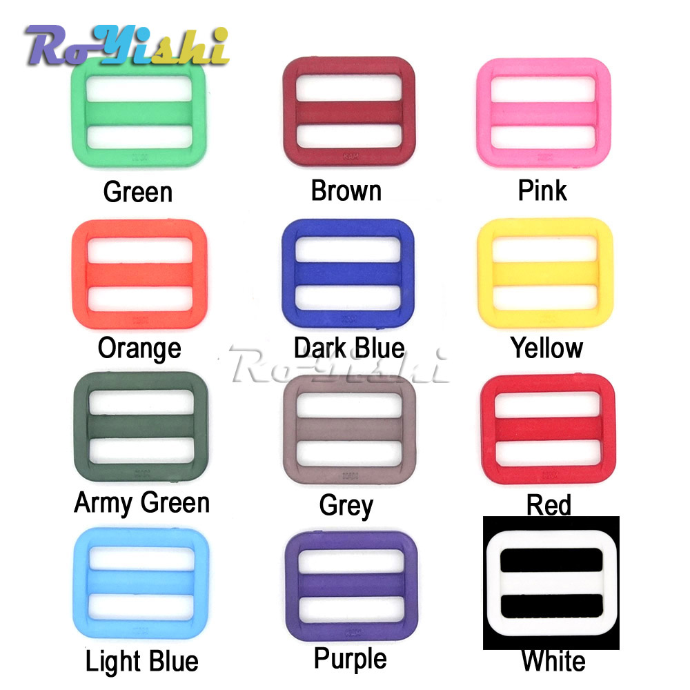 1000pcs/pack 1 (25mm)Colorful Triglides Adjust Buckle For Dog Collar Harness Backpack Strap