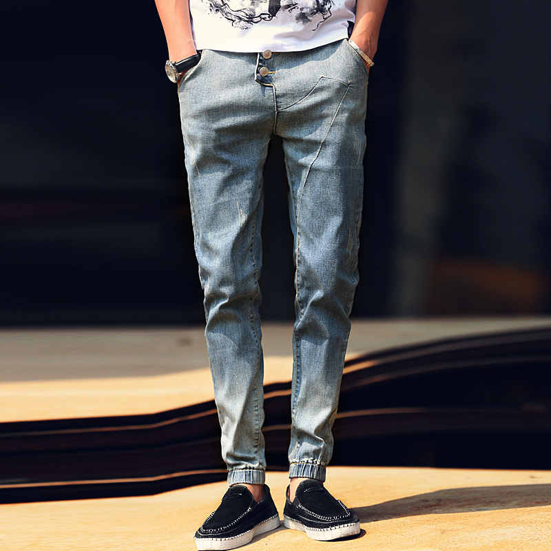 2017 Summer Real Fashion Spliced Jeans Homme Men s Casual Washing Feet Patchwork Stretch Slim Harem