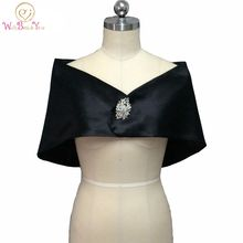 Romantic Black Satin Evening Capes Wedding Boleros with Brooch Prom Party Jacket Custom Made