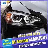 Novo estilo do carro para bmw x5 e70 faróis 2007-2013 para bmw x5 cabeça lâmpada auto led drl duplo feixe hid xenon bi xenon lente