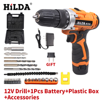 HILDA 12V Electric Drill Rechargeable Lithium Battery 2 Electric Screwdriver Cordless Screwdriver Two Speed Power Tools