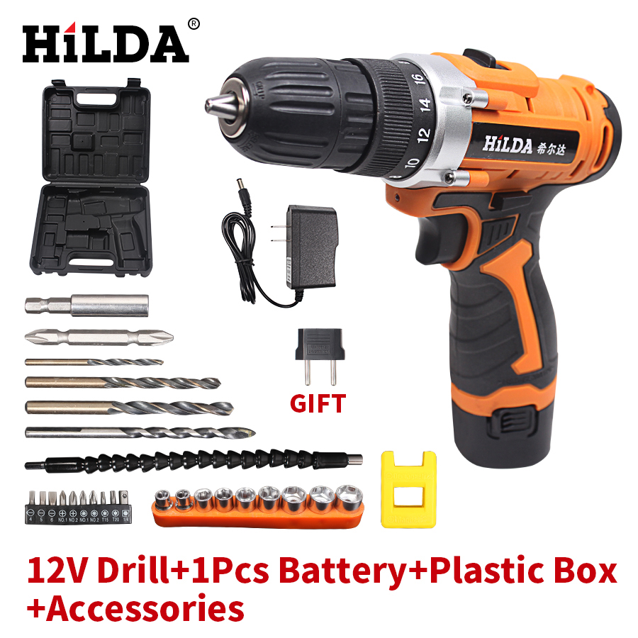 HILDA 12V Electric Drill Rechargeable Lithium Battery*2 Electric Screwdriver Cordless Screwdriver Two-speed Power Tools free shipping brand proskit upt 32007d frequency modulated electric screwdriver 2 electric screwdriver bit 900 1300rpm tools