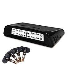 Tire Pressure Monitor Internal Sensor Solar Energy Wireless TPMS with Black-and-white Display Screen Sensor Failure Alarm