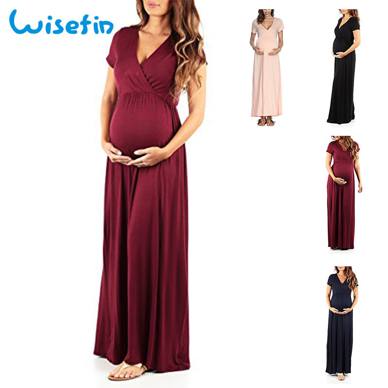 Wisefin Maternity Dress For Women 4 Style Maternity Feeding Dress Summer Casual Pregnancy Maxi Dress Nursing Clothes With Sleeve все цены