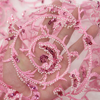 2018 Luxury French net lace fabric pink African tulle mesh lace fabric with lots of sequins and beads for women dress AD657