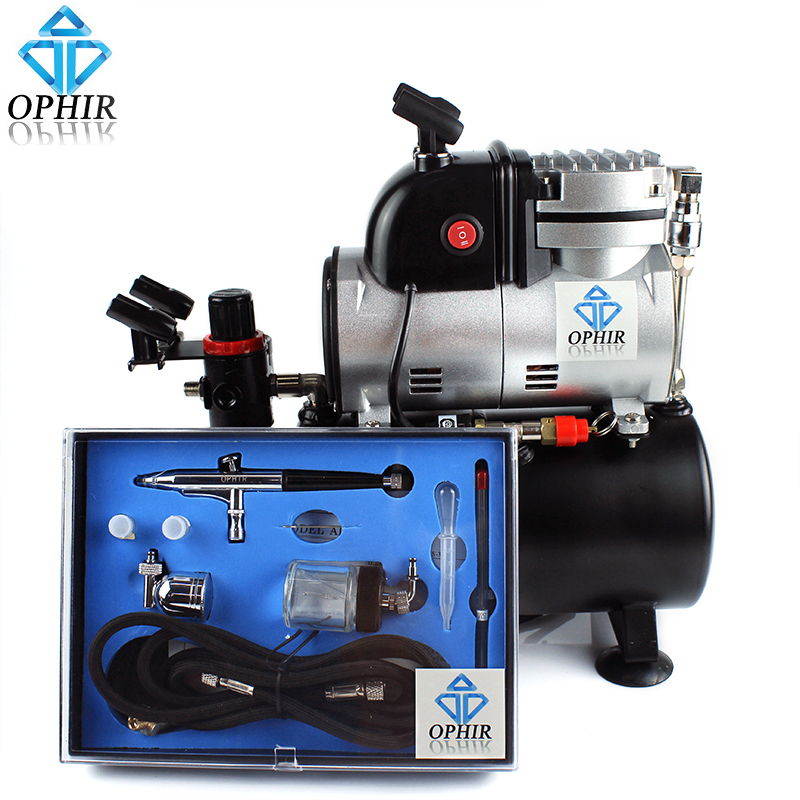 OPHIR 0.2mm,0.3mm,0.5mm Dual Action Airbrush Kit with Pro Air Tank Compressor for DIY Cake Tattoo Hobby Nail Art Kit_AC116+AC074 ophir pro 0 5mm dual action airbrush kit with air tank compressor for model hobby makeup nail art cake air brush set ac090 ac006
