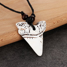 1pc Cool Men Women's Jewelry Imitation Yak Bone Shark Tooth Necklace White Teeth Lucky mulet Pendant Gift(China)