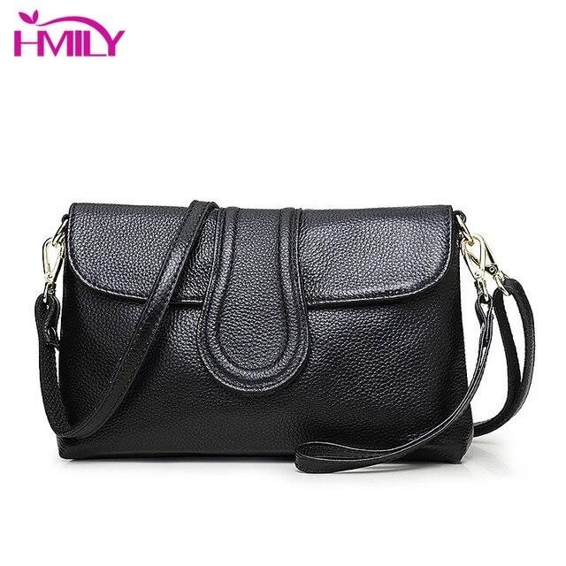 HMILY Womens Bag Genuine Leather Clutch Bag For Female Horizontal Crossbody  Bag Small Style Handbags Trendy Cowskin Sling Bag 1ceb05ee75