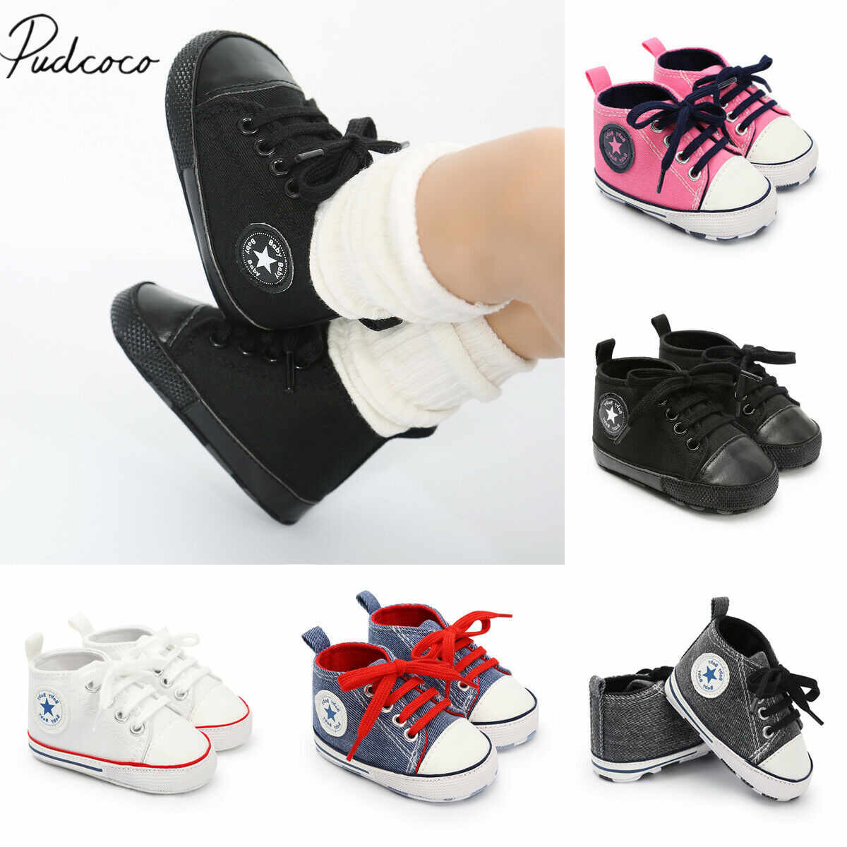 2019 Baby First Walkers Newborn Baby Boy Girl Canvas Shoes Infant Sneaker Toddler Prewalker Bandage Solid Trainer 0-18M