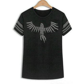 2017 Summer Autumn New Women's Sequined Eagle Short-sleeve T-shirts Women Hip-Hop tees Female T shirt