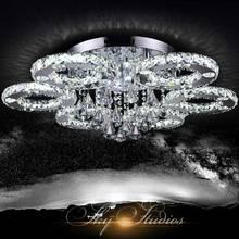 Moderne Cristal De Luxe Plafonnier Mode Fayer salon LED Lampe 6 Anneau En Acier Inoxydable Chrome Décor Éclairage À La Maison 220 V