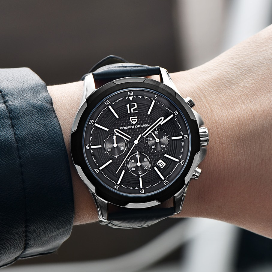 PAGANI DESIGN Fashion Waterproof Chronograph Sport mens watches top brand luxury genuine leather Quartz Watch Relogio Masculino 2017 new top fashion time limited relogio masculino mans watches sale sport watch blacl waterproof case quartz man wristwatches