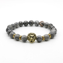 Antique Gold and Silver Plated Leo Lion Head Bracelet Men Black Lava Stone Beads Charm Bracelets Jewelry Masculino Plusera M4-3
